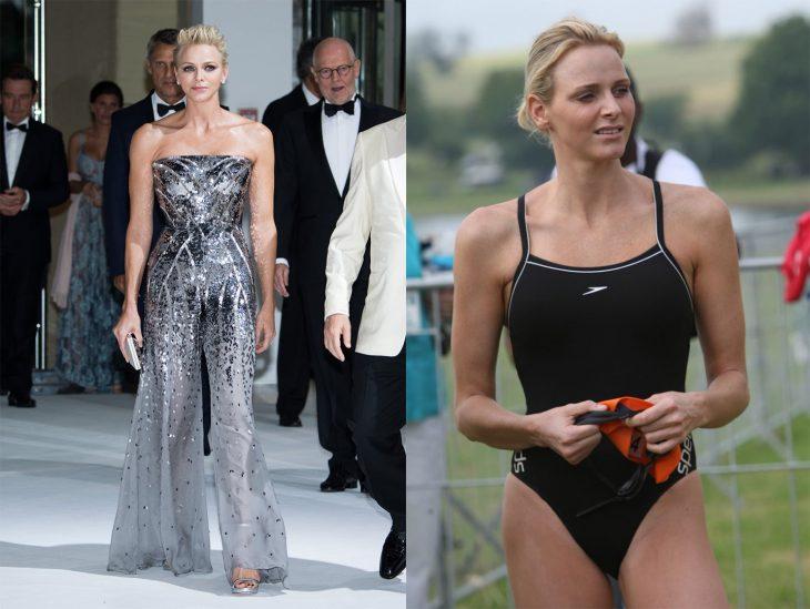 Princesa luciendo un estilo normal versus como se ve en bikini