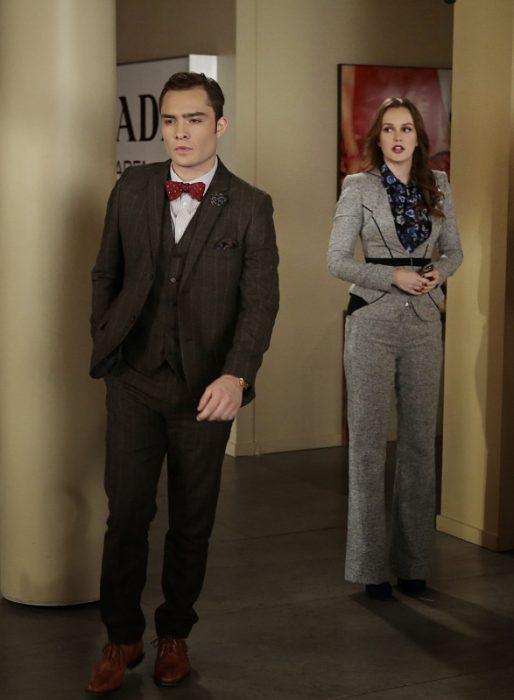 Escena de la serie gossip girls. Blake y Chuck peleando
