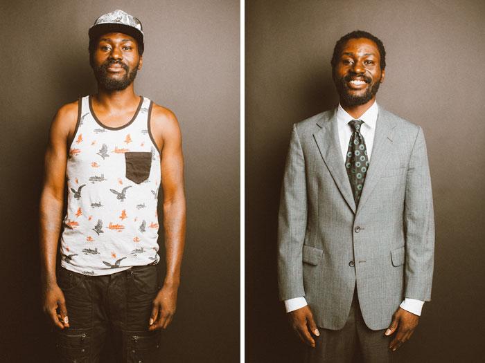 Hombres que cambiaron para una entrevista de trabajo
