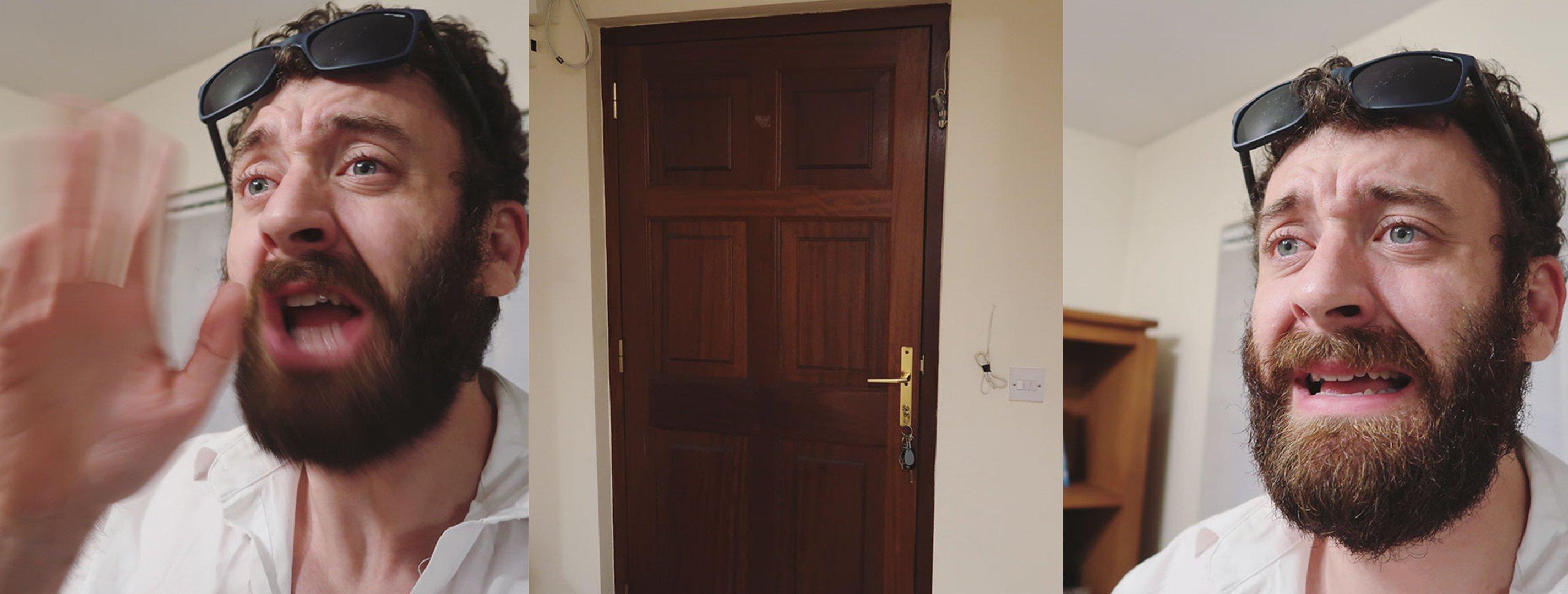 Comediante Senan Byrne tratando de detener a su esposa