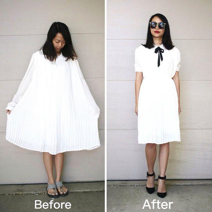 Mujer que recicla ropa vieja y la rehace con un nuevo diseño