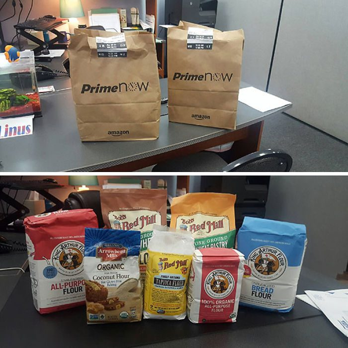 Bolsas de supermercado con bolsas de harina