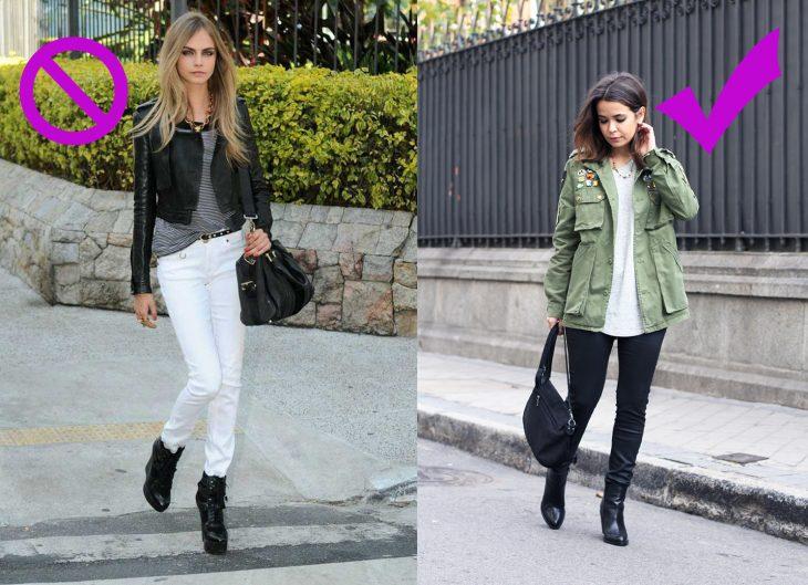 Chica usando una chaqueta corta y una larga