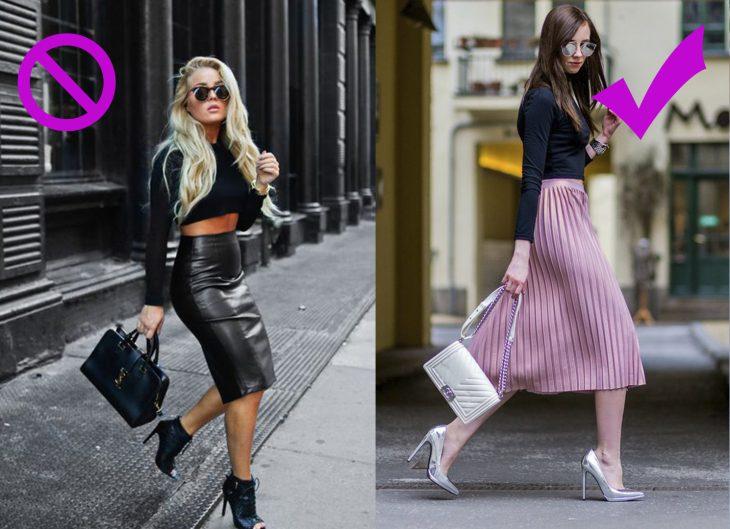 Chicas usando faldas corte lapiz y largas