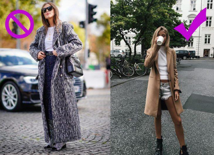 Chicas usando abrigos largos y cortos