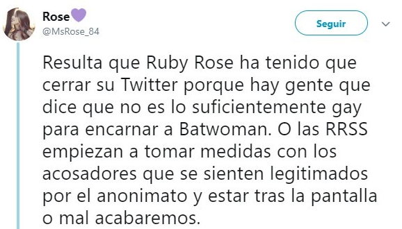 Tuit sobre Ruby Rose
