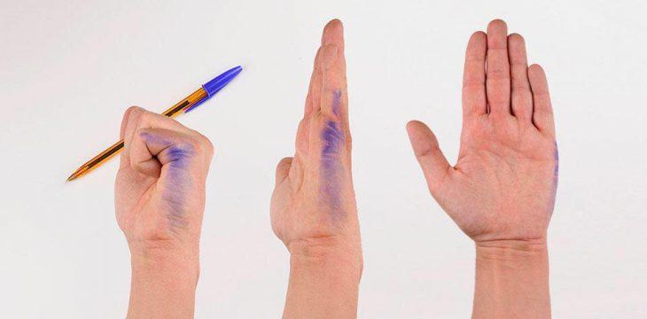 Zurdos manchado con tinta