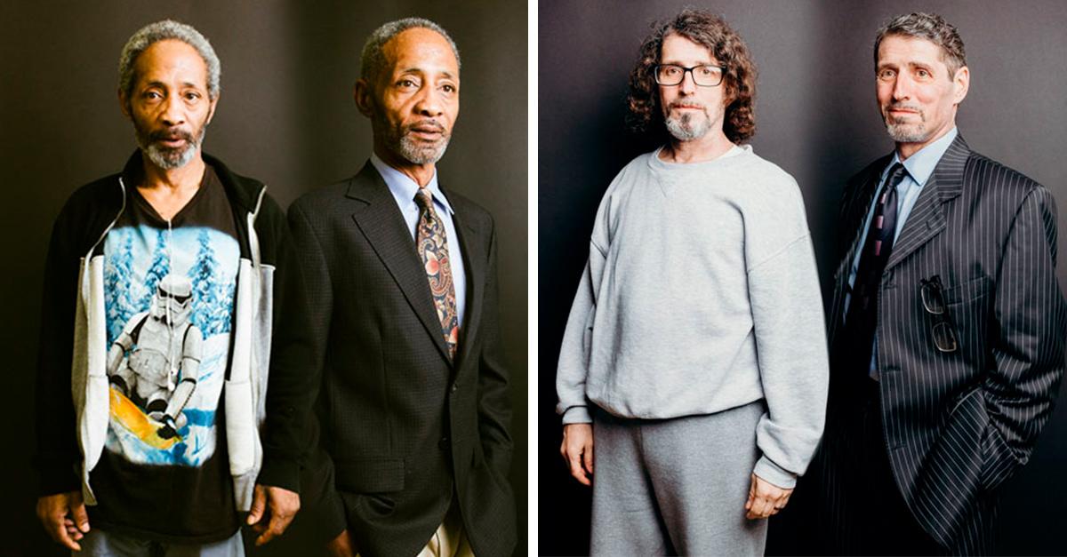 Antes y después de hombres que se vistieron elegantes