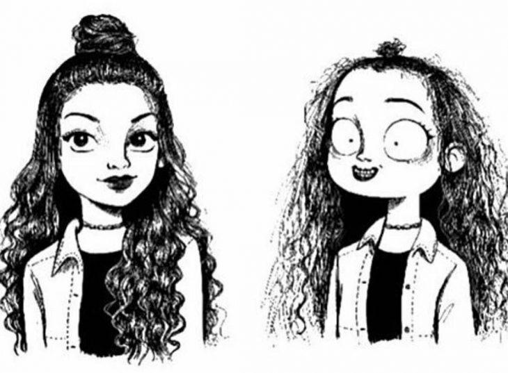 mujer con chongo de media cola ilustración expectativa realidad