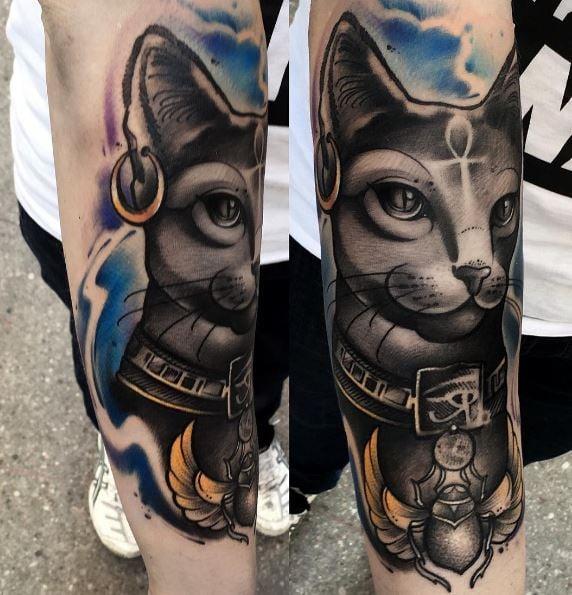Tatuaje egipcio de gato
