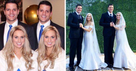 Hermanas gemelas idénticas se casan con hermanos gemelos idénticos