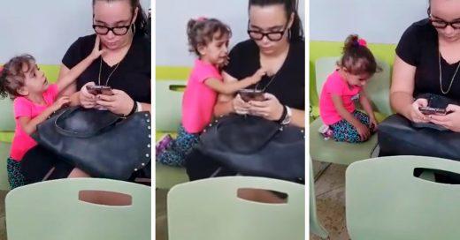 Ella necesitaba un poco de atención… pero su madre prefirió estar en el celular