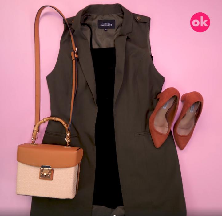 vestido negro con bolso camel y zapatos