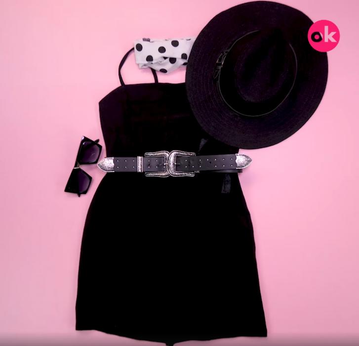 vestido negro con cinto sombrero y pañuelo de puntos