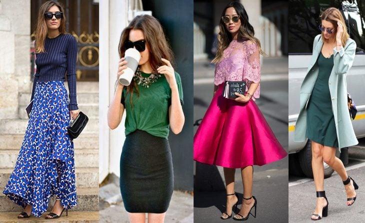 mujeres vestidas de colores con falda y saco