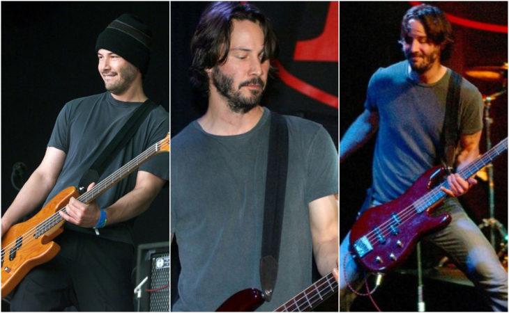 Keanu Reeves tocando el bajo en su banda de rock de los 90