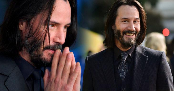 Keanu Reeves en traje sastre, sonriendo, promocionando John Wick. Parabellum