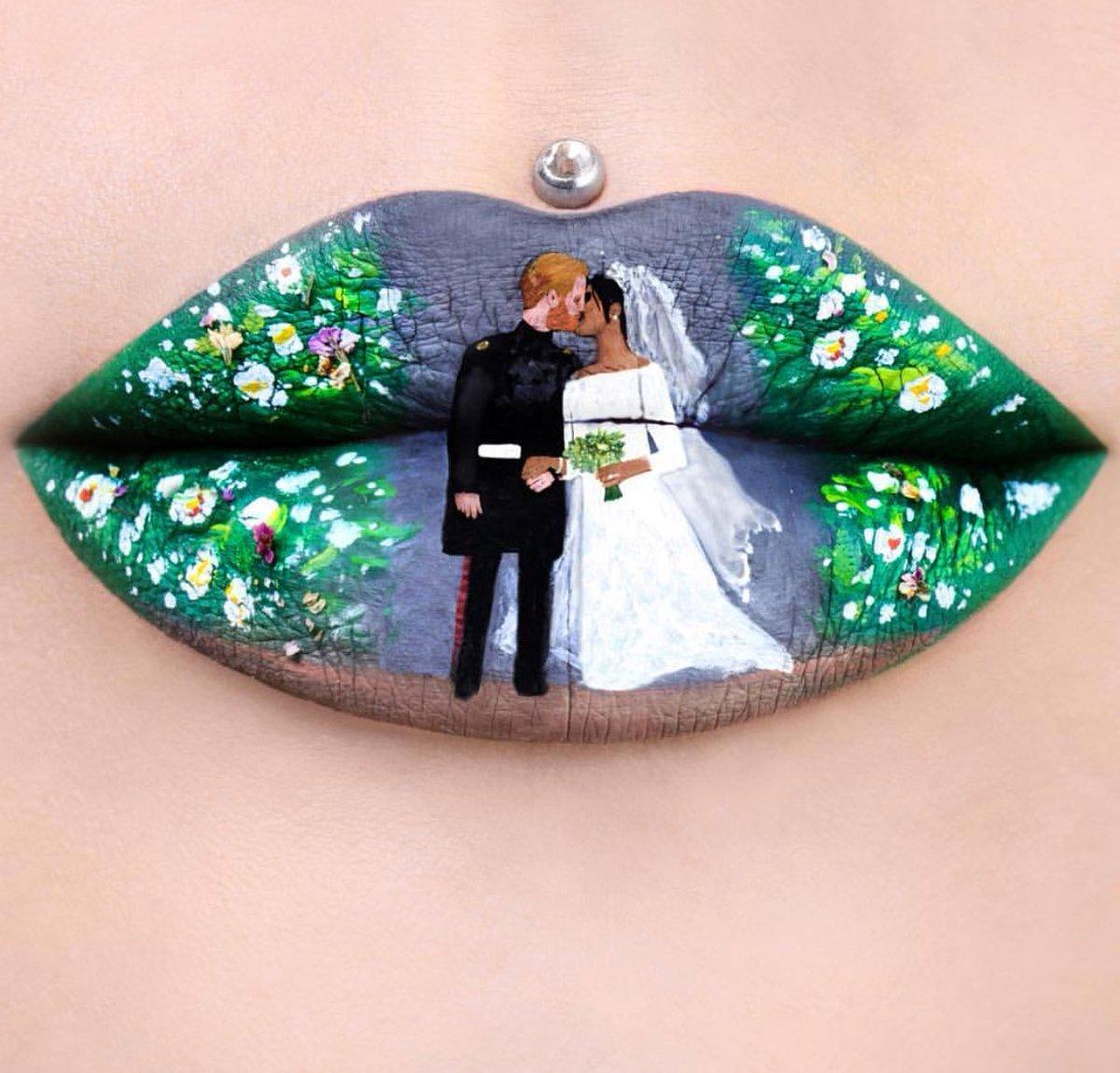 Labios pintados con temática de la boda real