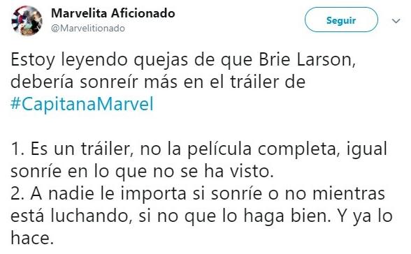 Tuit sobre Brie Larson sin sonreír