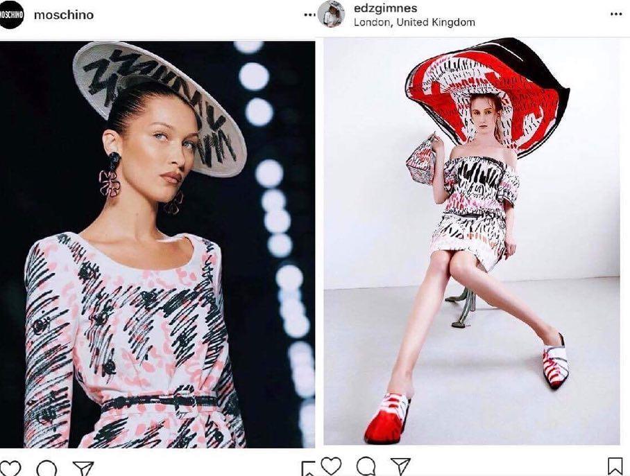 Comparación de diseños de una chica y moschino