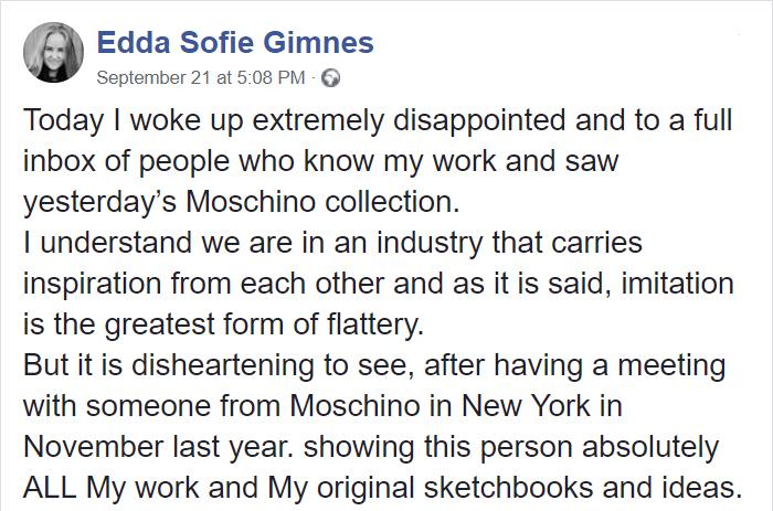 Chica afirma que moschino robó sus diseños en un comentario de facebook