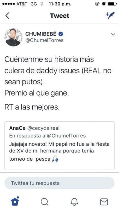 publicación en twitter de chumel torres pidiendo contar su peor Daddy issues