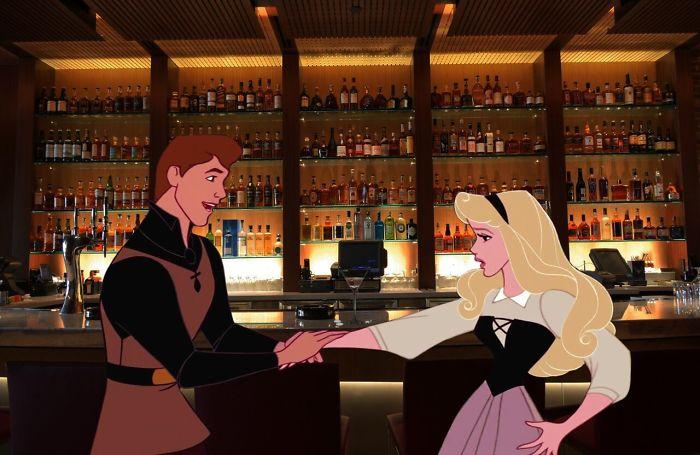 Aurora y el príncipe en un bar