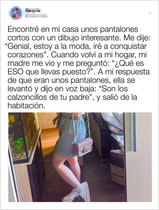 Comentario de una chica que salió a la calle usando los calzoncillos de su papá