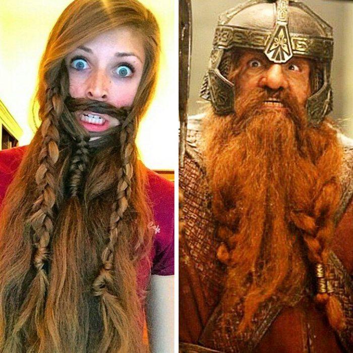 Chica haciendo un cosplay del señor de los anillos con su cabello