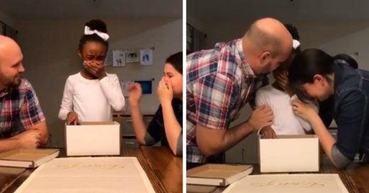 ste es el instante en que una niña descubre que será adoptada