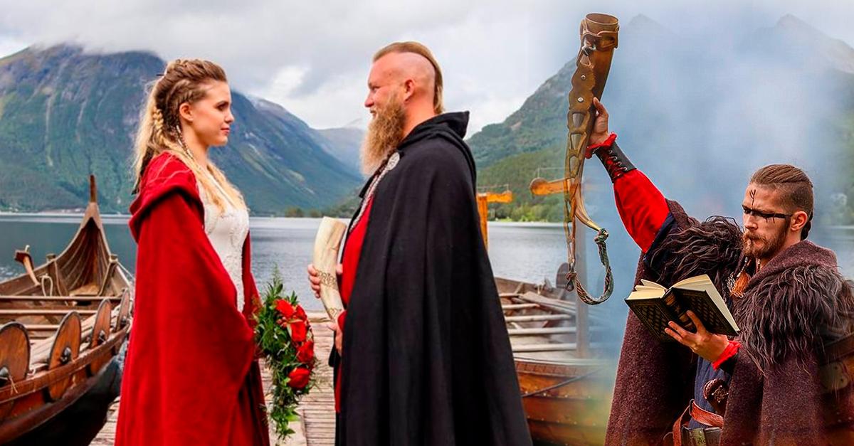 Intercambiaron votos en boda vikinga a orillas de un lago en Noruega