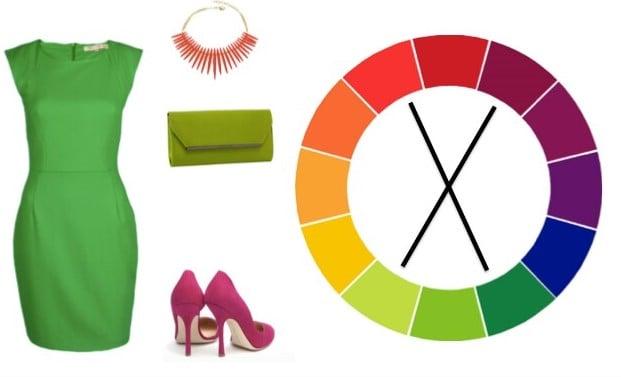circulo cromatico y flechas con outfit ropa accesorios y zapatos