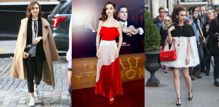 mujer con saco vestido rojo elegante poncho lily collins