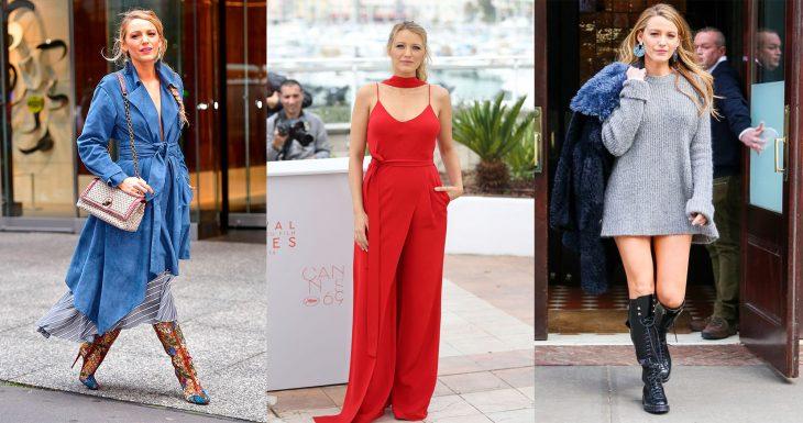 mujer con botas jumpsuit rojo botas negras y chamarra de peluche