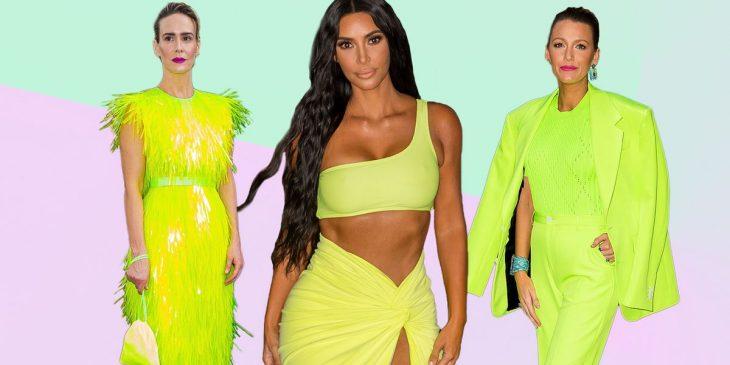 tres mujeres usando ropa neón