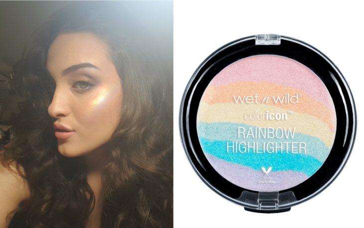 mujer blanca iluminador de arcoiris