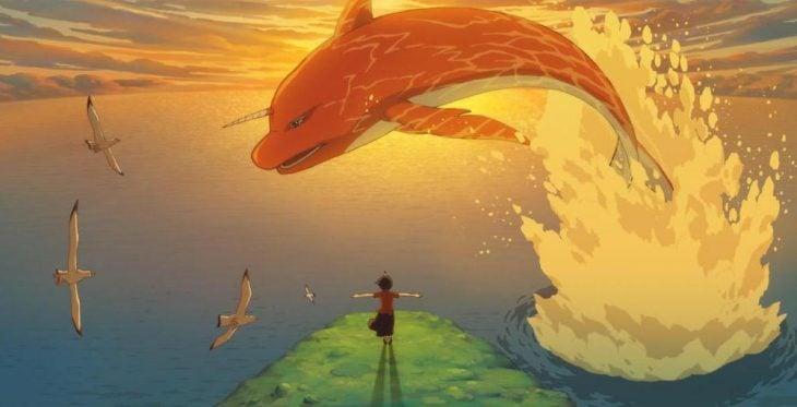 caricatura con niño y ballena saltando