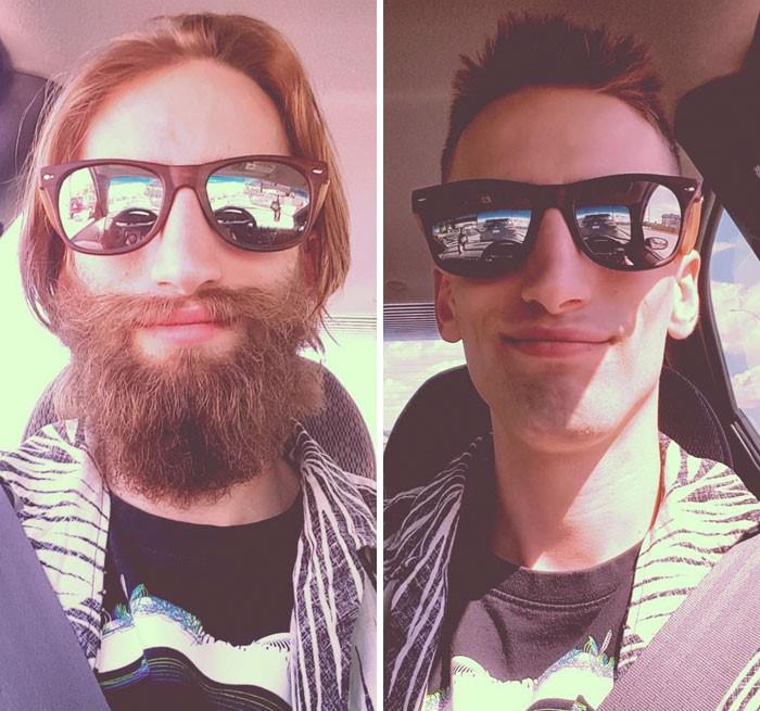 hombre con cabello castaño y barba hombre sin barba
