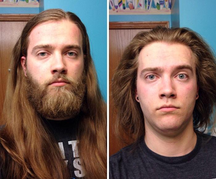 hombre con cabello largo y barba larga