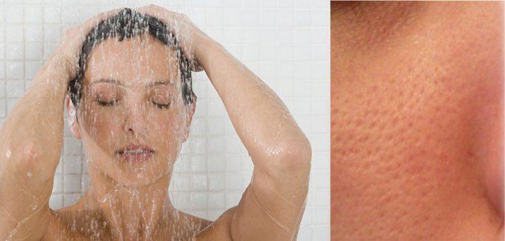 mujer con bañandose con agua caliente y poros abiertos