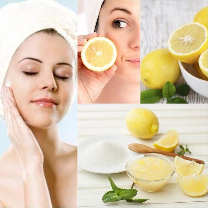 mujer con rostro y limón