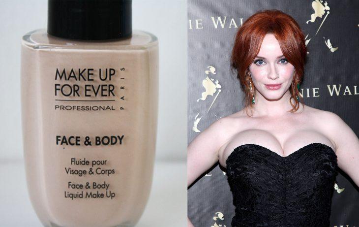 mujer blanca con maquillaje para el cuerpo