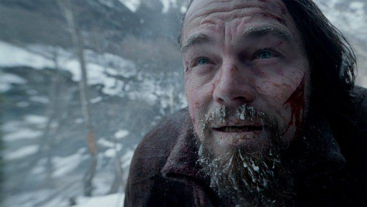 Leonardo DiCaprio con hielo en la barba durante la película El renacido