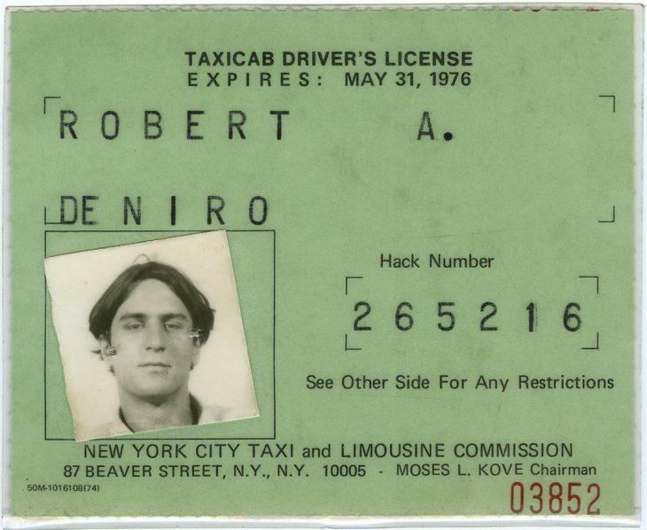 Licencia de manejo que sacó Robert De Niro