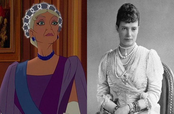 Comparación de la abuela de Anastasia en la película y en la vida real