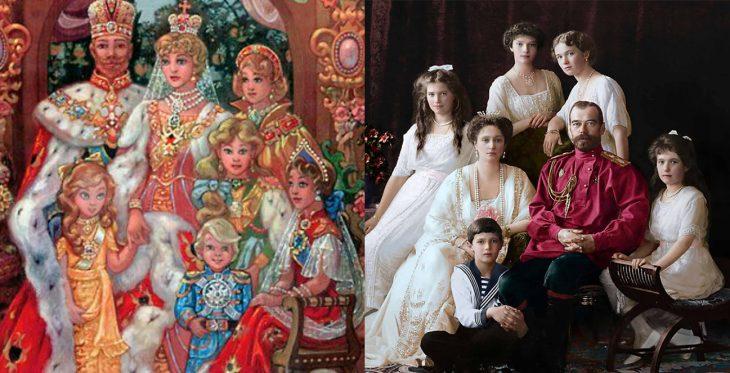 Comparación de familia Romanov en la película y en la vida real