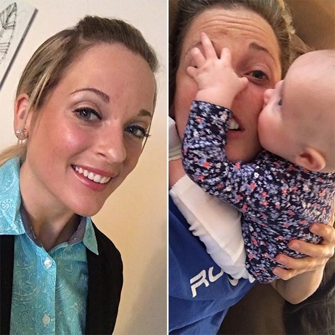 Chica antes y después de tener un bebé
