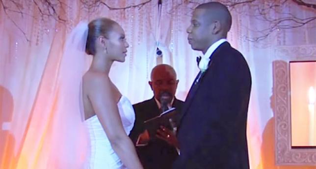 Beyoncé y Jay z el día de su boda