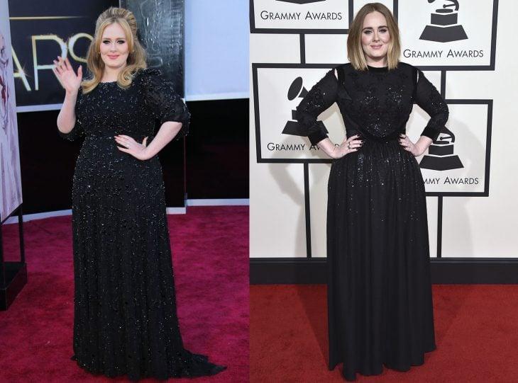Adele antes y después de perder peso
