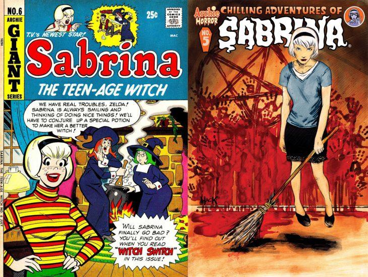 Comparación del cómic gracioso de Sabrina con el cómic terrorífico de Sabrina